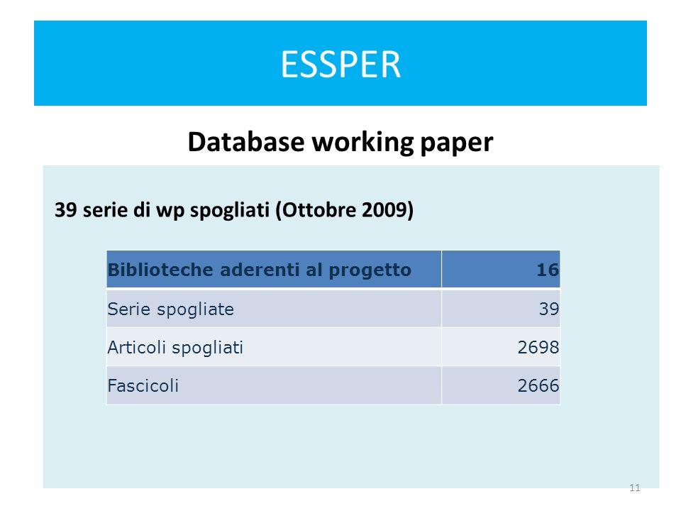 ESSPER Mailing list Essper 218 INDIRIZZI INSERITI -LE BIBLIOTECHE SONO 124 (ottobre 2009) A chi chiedere di inserire un nuovo indirizzo: clucchesi@liuc.itclucchesi@liuc.it Lista di discussione riservata ai membri di ESSPER: essper@liuc.it essper@liuc.it 12