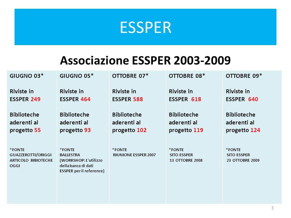 ESSPER Associazione ESSPER 2003-2009 4
