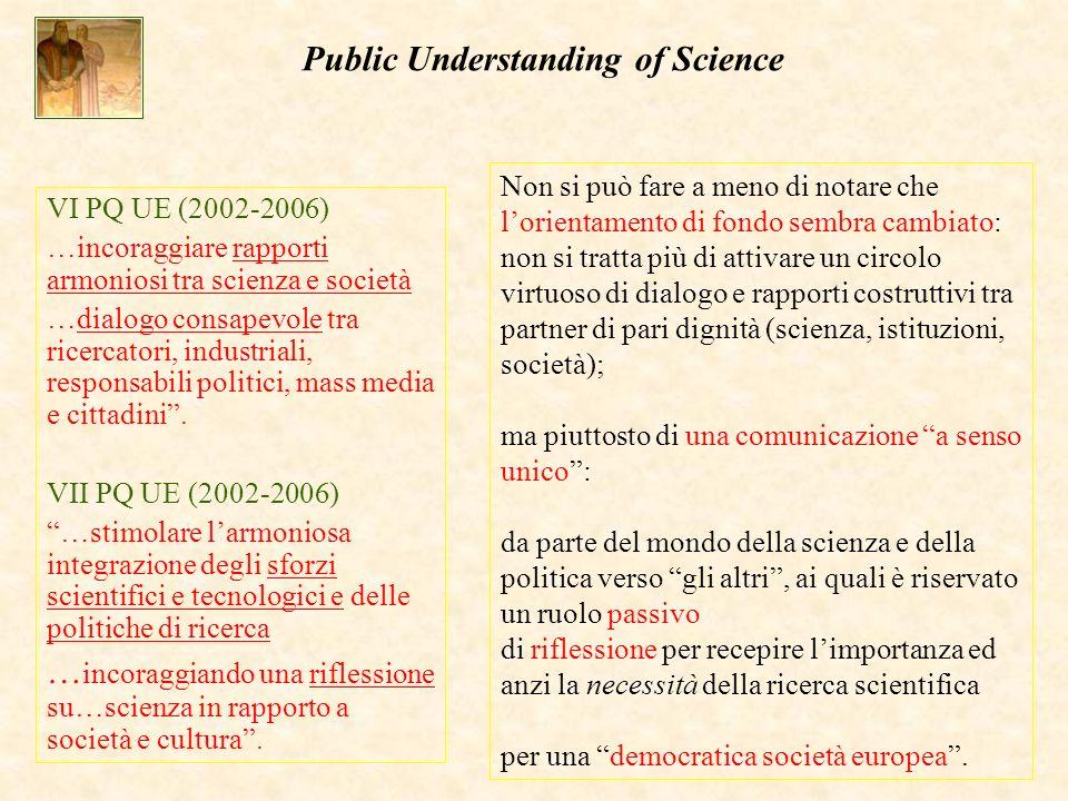 VI PQ UE (2002-2006) …incoraggiare rapporti armoniosi tra scienza e società …dialogo consapevole tra ricercatori, industriali, responsabili politici, mass media e cittadini.