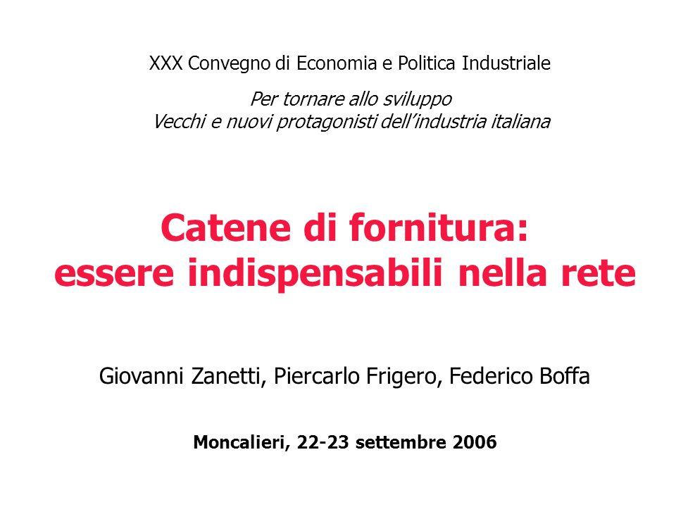 XXX Convegno di Economia e Politica Industriale Per tornare allo sviluppo Vecchi e nuovi protagonisti dellindustria italiana Catene di fornitura: esse