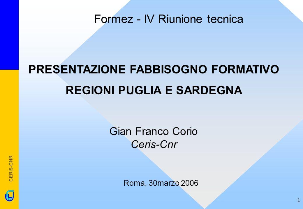 CERIS-CNR 1 PRESENTAZIONE FABBISOGNO FORMATIVO REGIONI PUGLIA E SARDEGNA Gian Franco Corio Ceris-Cnr Roma, 30marzo 2006 Formez - IV Riunione tecnica