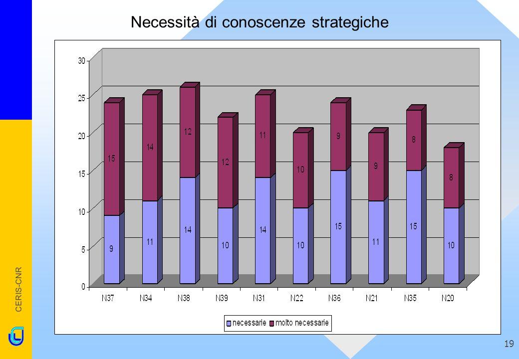 CERIS-CNR 19 Necessità di conoscenze strategiche