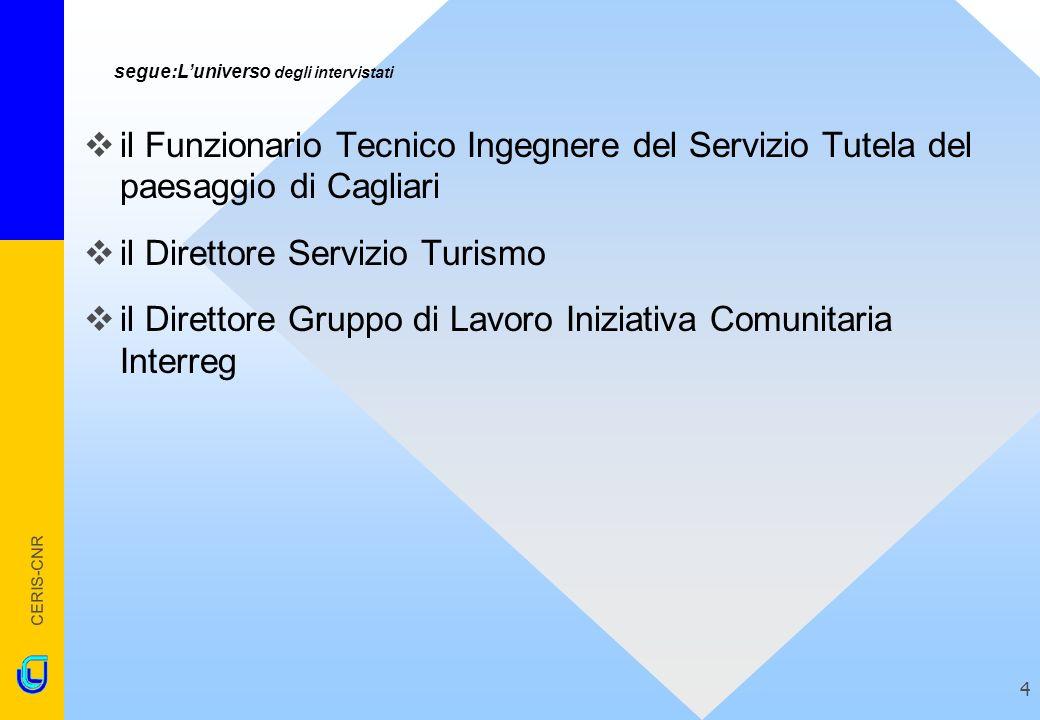 CERIS-CNR 4 segue:Luniverso degli intervistati il Funzionario Tecnico Ingegnere del Servizio Tutela del paesaggio di Cagliari il Direttore Servizio Tu