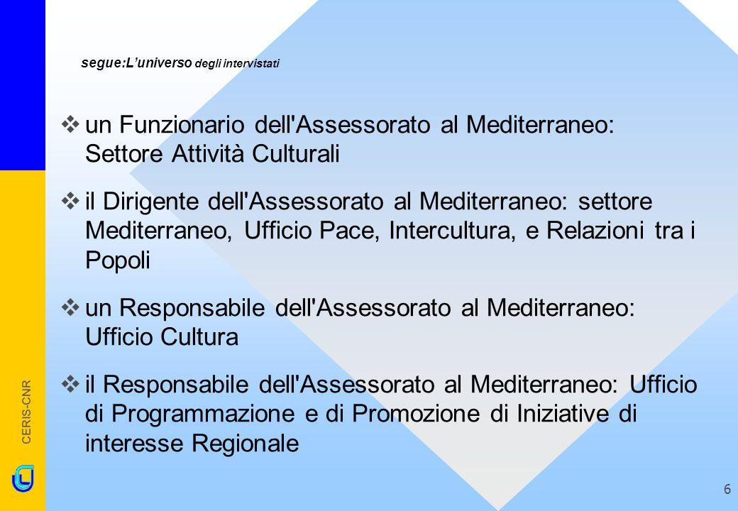 CERIS-CNR 6 segue:Luniverso degli intervistati un Funzionario dell'Assessorato al Mediterraneo: Settore Attività Culturali il Dirigente dell'Assessora