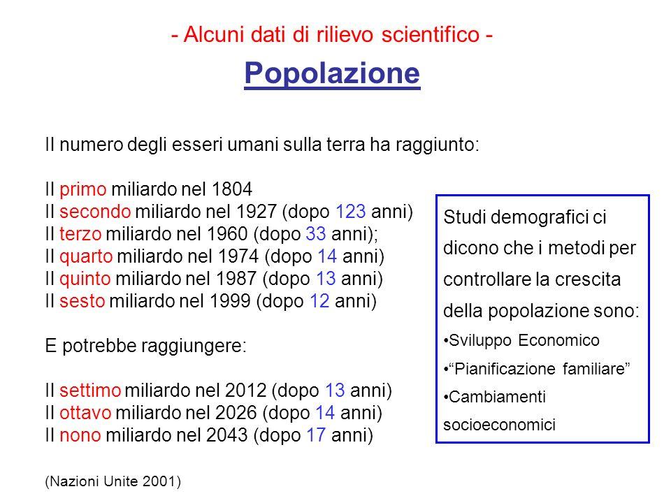 - Alcuni dati di rilievo scientifico - Popolazione Il numero degli esseri umani sulla terra ha raggiunto: Il primo miliardo nel 1804 Il secondo miliar