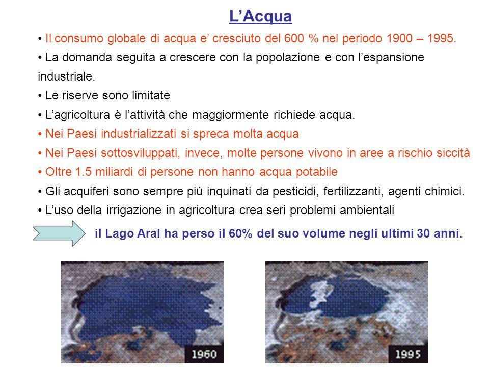 LAcqua Il consumo globale di acqua e cresciuto del 600 % nel periodo 1900 – 1995. La domanda seguita a crescere con la popolazione e con lespansione i
