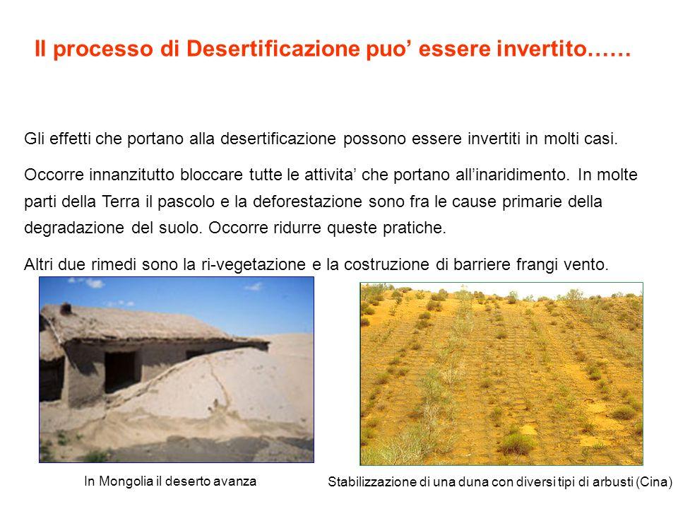 Il processo di Desertificazione puo essere invertito…… Gli effetti che portano alla desertificazione possono essere invertiti in molti casi. Occorre i