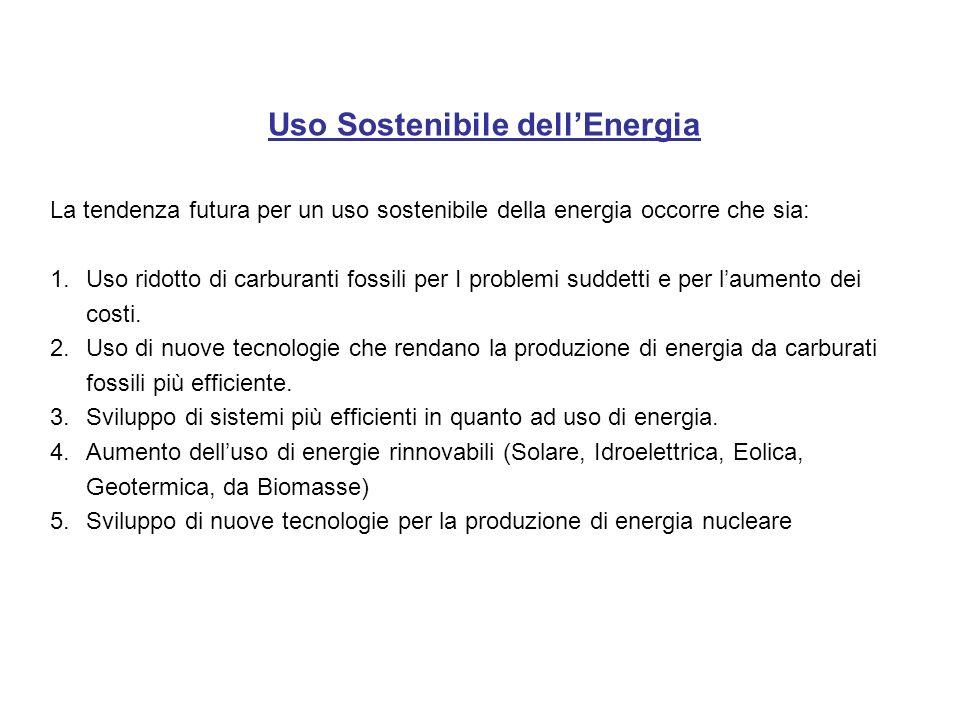 Uso Sostenibile dellEnergia La tendenza futura per un uso sostenibile della energia occorre che sia: 1.Uso ridotto di carburanti fossili per I problem