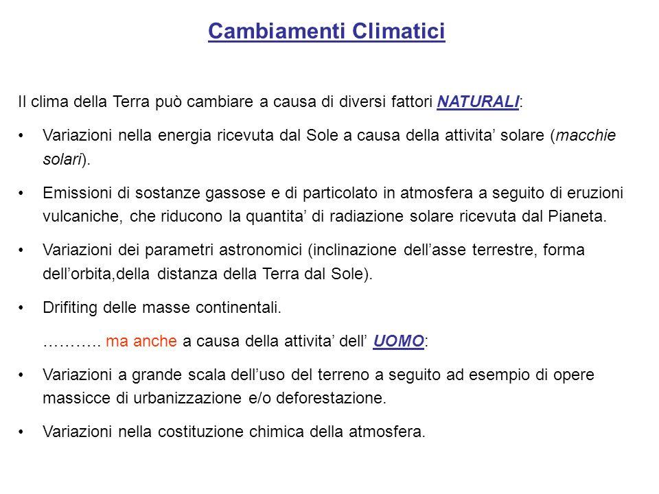 Cambiamenti Climatici Il clima della Terra può cambiare a causa di diversi fattori NATURALI: Variazioni nella energia ricevuta dal Sole a causa della