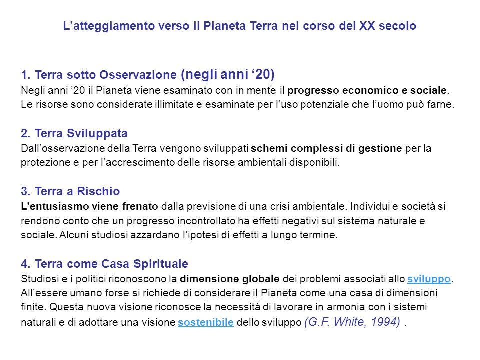 Latteggiamento verso il Pianeta Terra nel corso del XX secolo 1. Terra sotto Osservazione (negli anni 20) Negli anni 20 il Pianeta viene esaminato con