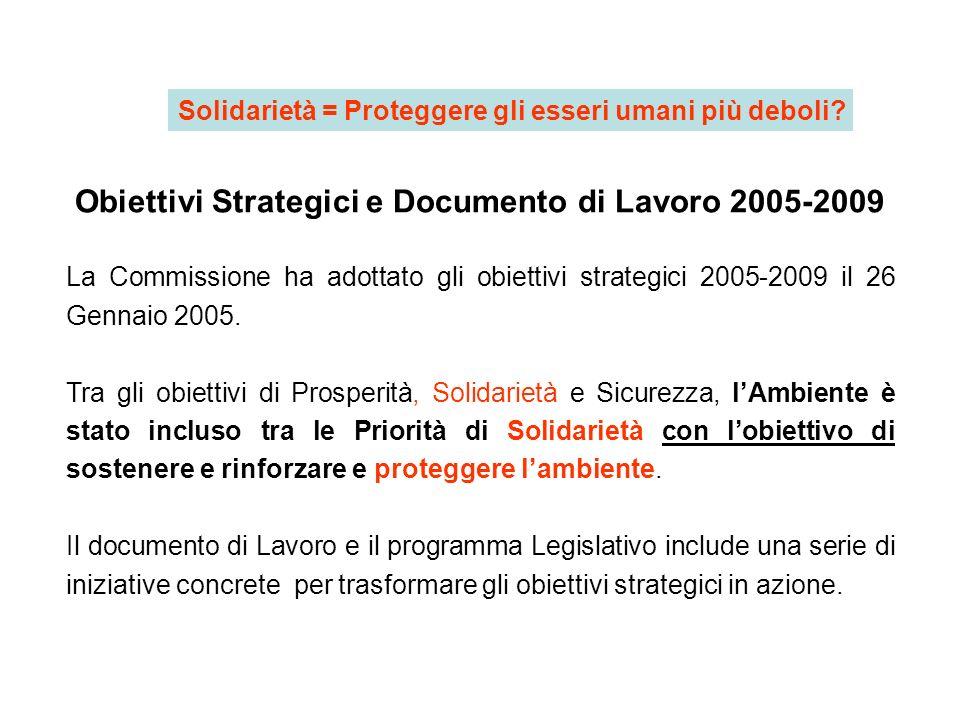 Obiettivi Strategici e Documento di Lavoro 2005-2009 La Commissione ha adottato gli obiettivi strategici 2005-2009 il 26 Gennaio 2005. Tra gli obietti