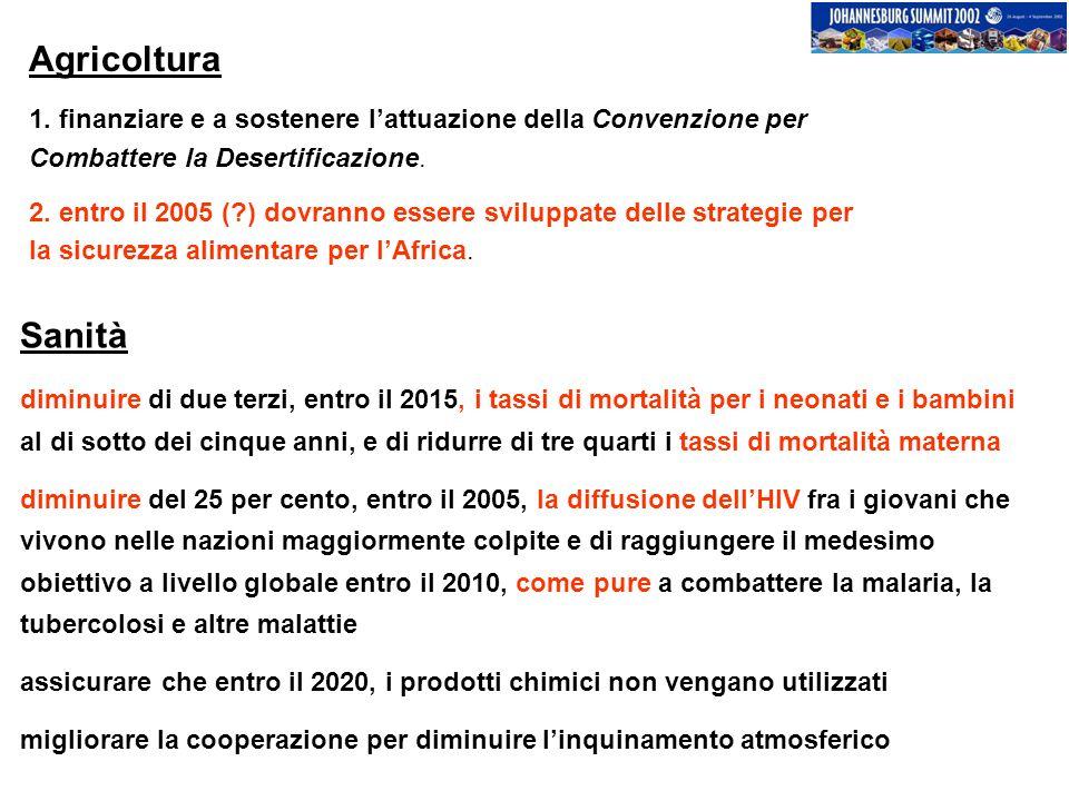 Agricoltura 1. finanziare e a sostenere lattuazione della Convenzione per Combattere la Desertificazione. 2. entro il 2005 (?) dovranno essere svilupp