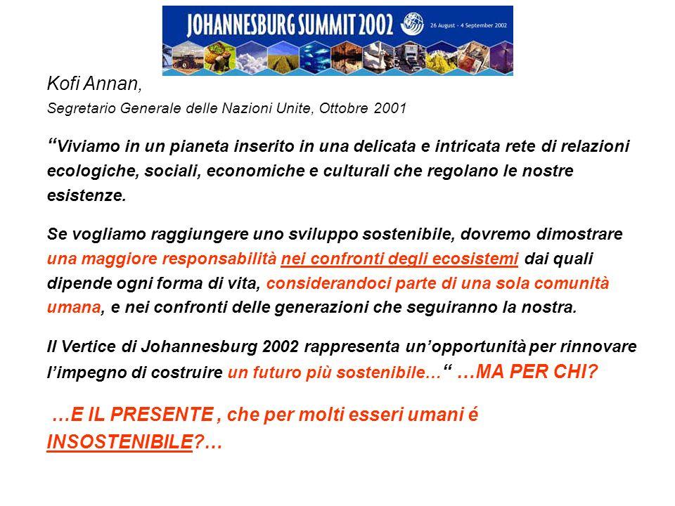 Kofi Annan, Segretario Generale delle Nazioni Unite, Ottobre 2001 Viviamo in un pianeta inserito in una delicata e intricata rete di relazioni ecologi