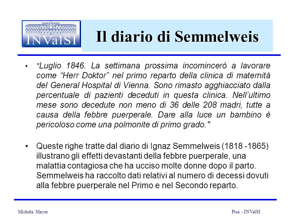 Michela Mayer Pisa - INValSI 18 Il diario di Semmelweis