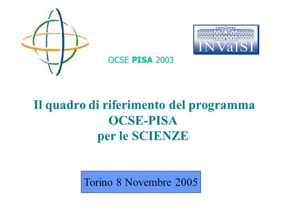 Il quadro di riferimento del programma OCSE-PISA per le SCIENZE OCSE PISA 2003 Torino 8 Novembre 2005