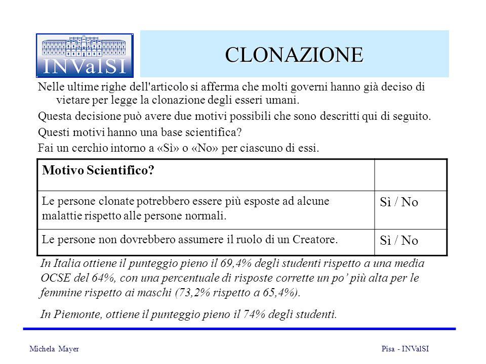 Michela Mayer Pisa - INValSI 23 CLONAZIONE Nelle ultime righe dell'articolo si afferma che molti governi hanno già deciso di vietare per legge la clon