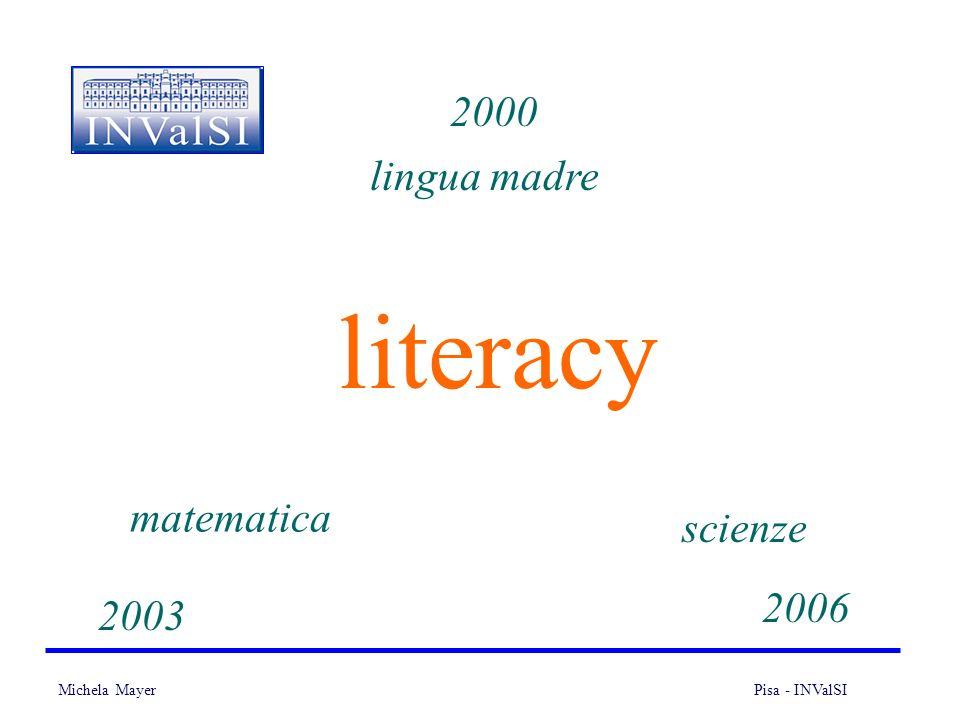 Michela Mayer Pisa - INValSI 5 La literacy scientifica Il PISA identifica nel sapere scientifico una delle competenze indispensabili per la vita, e propone quindi la literacy scientifica come terza area di indagine da affiancare alle competenze di lettura e matematica.