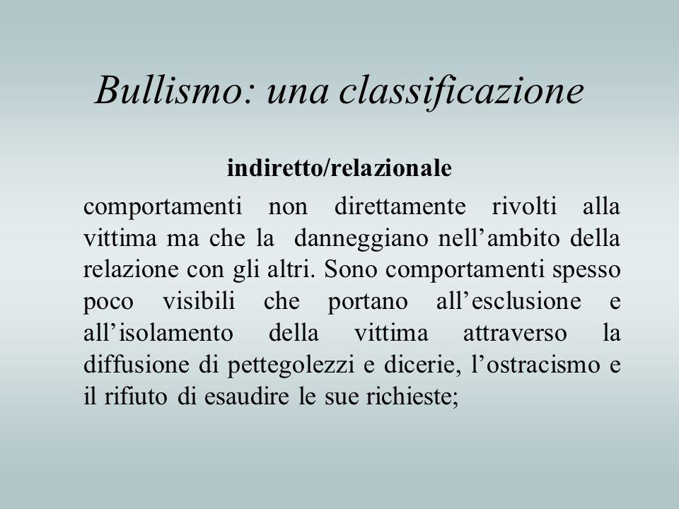 Bullismo: una classificazione indiretto/relazionale comportamenti non direttamente rivolti alla vittima ma che la danneggiano nellambito della relazio