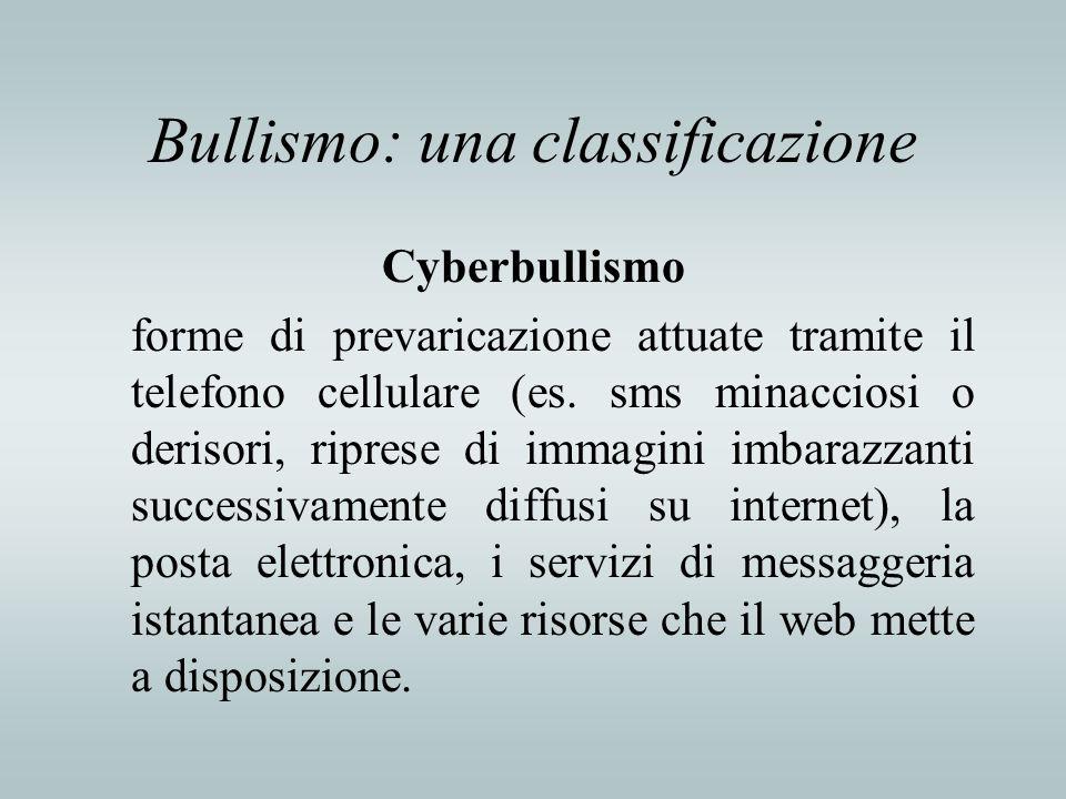 Bullismo: una classificazione Cyberbullismo forme di prevaricazione attuate tramite il telefono cellulare (es. sms minacciosi o derisori, riprese di i
