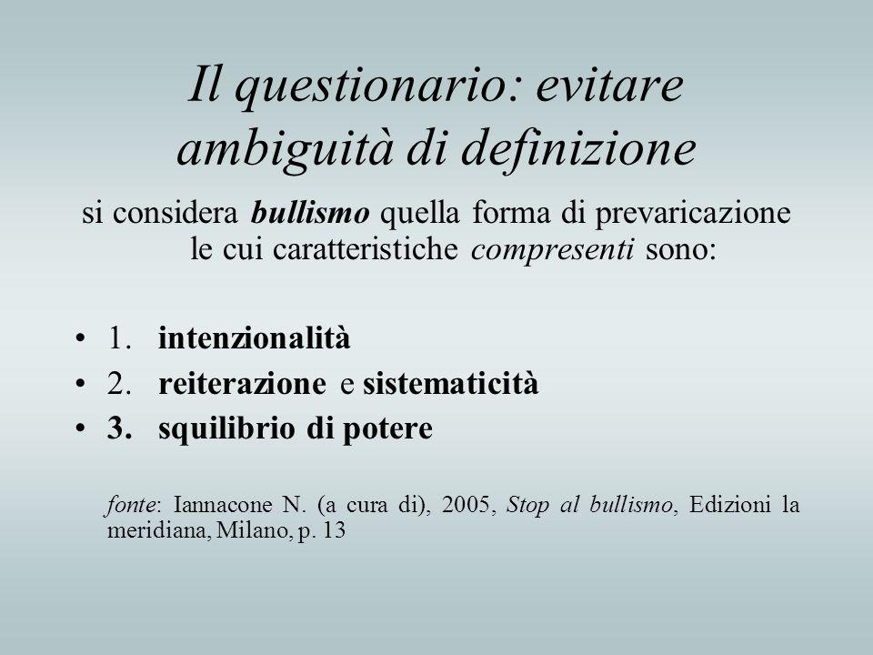 Il questionario: evitare ambiguità di definizione si considera bullismo quella forma di prevaricazione le cui caratteristiche compresenti sono: 1. int