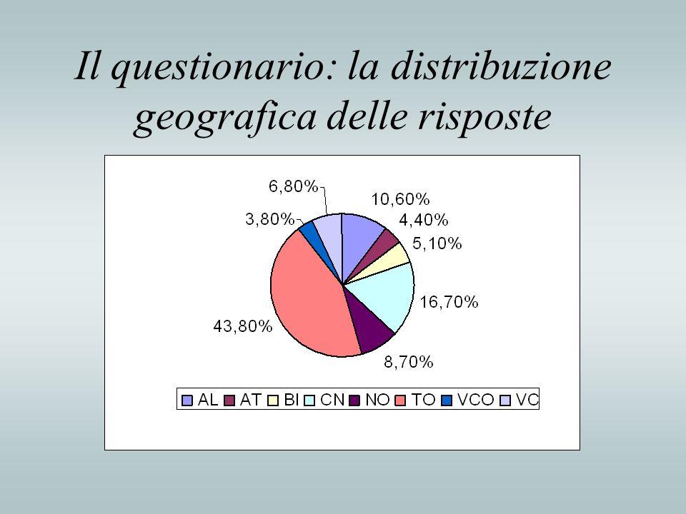 Il questionario: la distribuzione geografica delle risposte