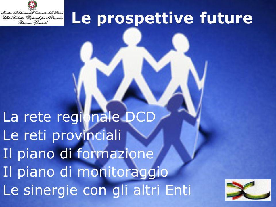 Le prospettive future La rete regionale DCD Le reti provinciali Il piano di formazione Il piano di monitoraggio Le sinergie con gli altri Enti