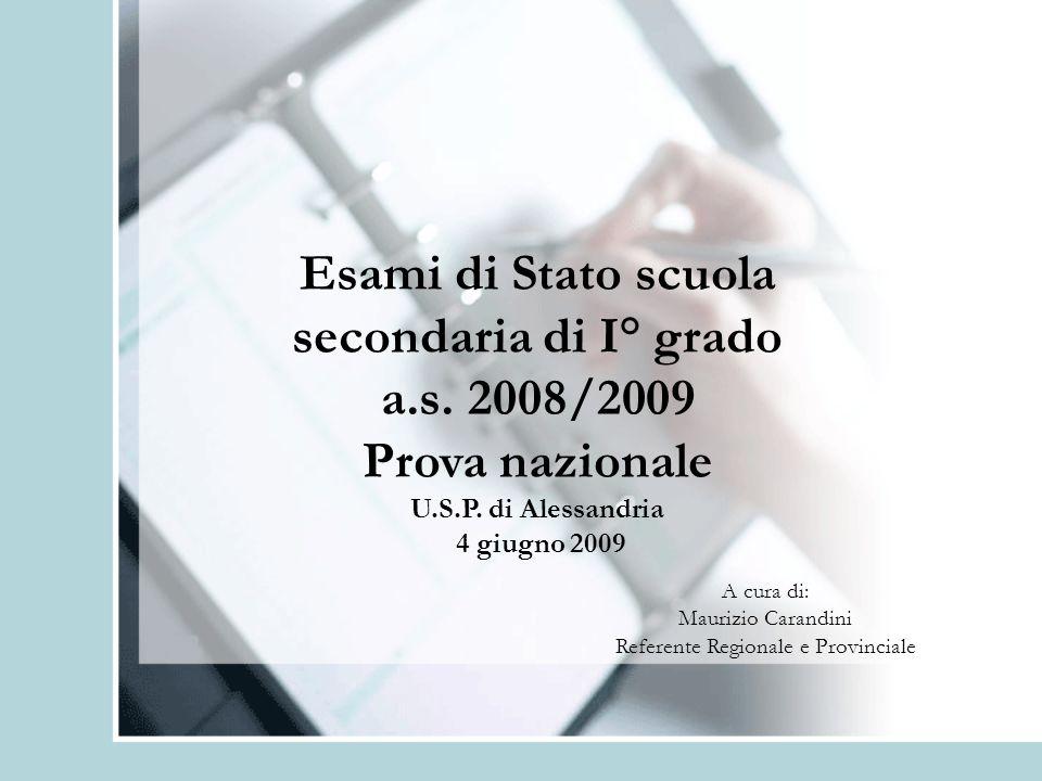 Esami di Stato scuola secondaria di I° grado a.s. 2008/2009 Prova nazionale U.S.P. di Alessandria 4 giugno 2009 A cura di: Maurizio Carandini Referent
