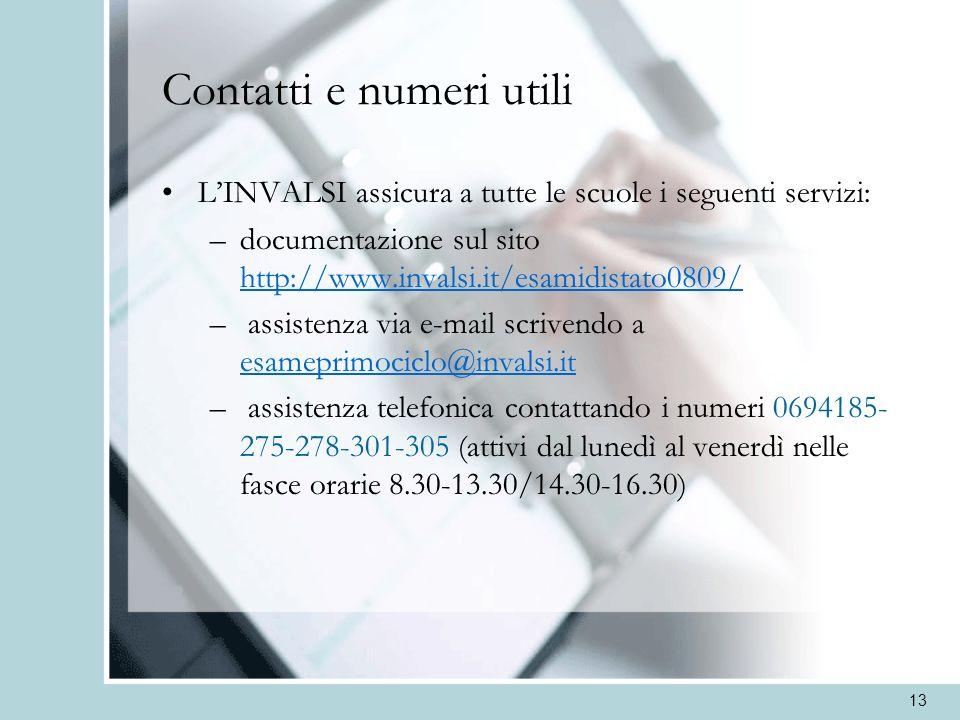 13 Contatti e numeri utili LINVALSI assicura a tutte le scuole i seguenti servizi: –documentazione sul sito http://www.invalsi.it/esamidistato0809/ ht