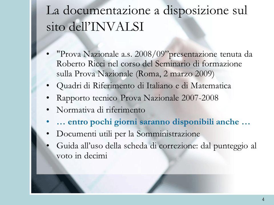 4 La documentazione a disposizione sul sito dellINVALSI