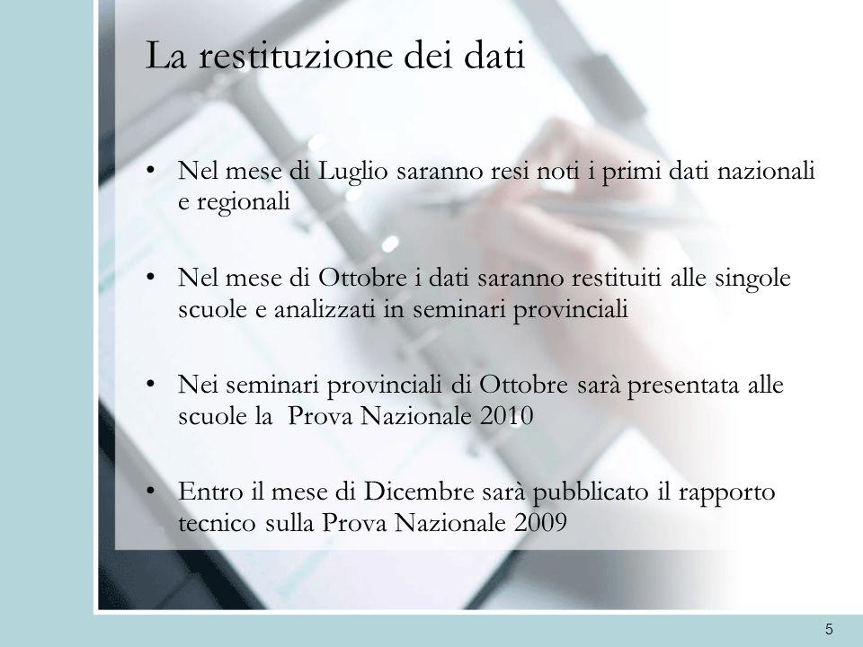 5 La restituzione dei dati Nel mese di Luglio saranno resi noti i primi dati nazionali e regionali Nel mese di Ottobre i dati saranno restituiti alle