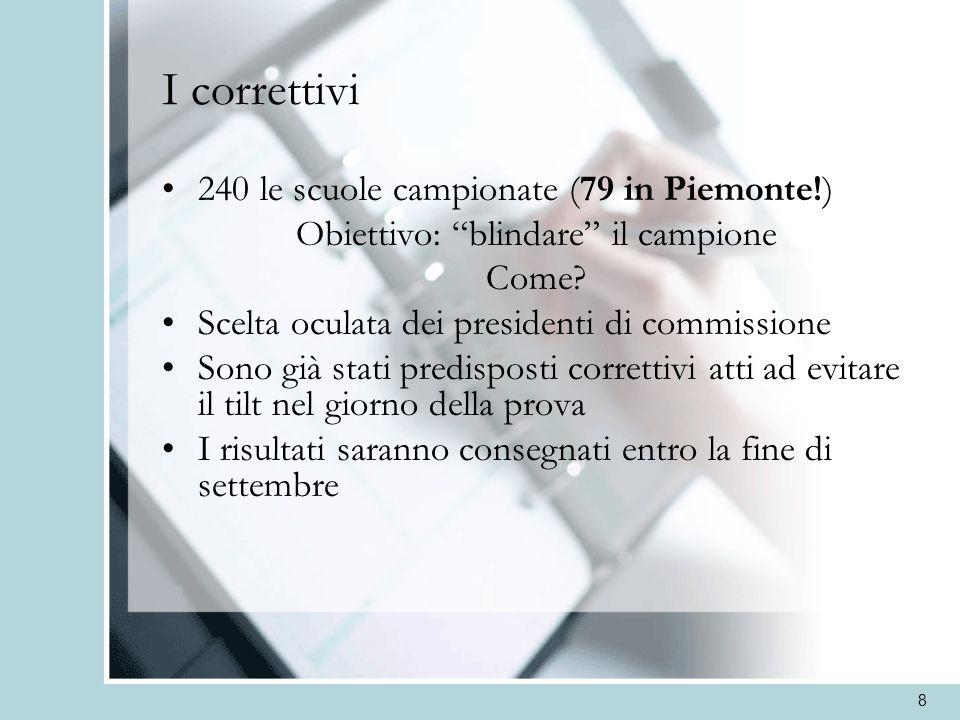 8 I correttivi 240 le scuole campionate (79 in Piemonte!) Obiettivo: blindare il campione Come? Scelta oculata dei presidenti di commissione Sono già