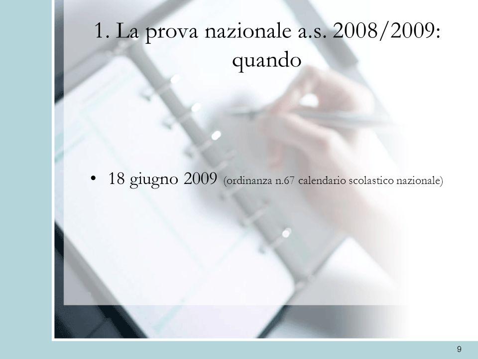 9 1. La prova nazionale a.s. 2008/2009: quando 18 giugno 2009 (ordinanza n.67 calendario scolastico nazionale)