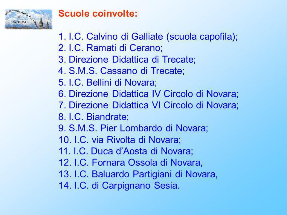 Scuole coinvolte: 1. I.C. Calvino di Galliate (scuola capofila); 2.