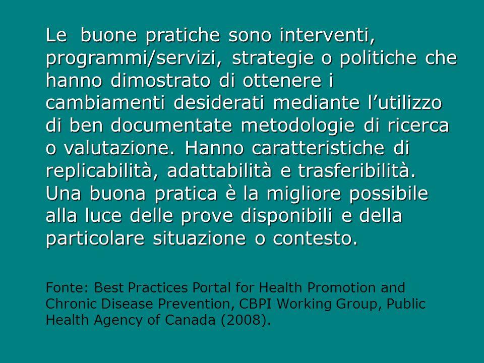 Le buone pratiche sono interventi, programmi/servizi, strategie o politiche che hanno dimostrato di ottenere i cambiamenti desiderati mediante lutilizzo di ben documentate metodologie di ricerca o valutazione.