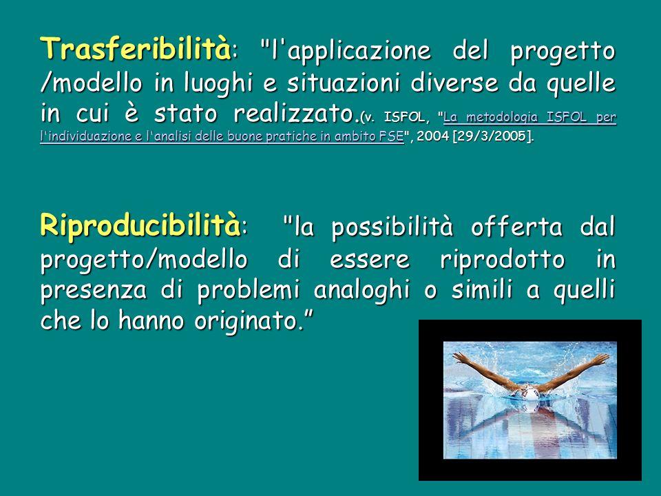 Trasferibilità : l applicazione del progetto /modello in luoghi e situazioni diverse da quelle in cui è stato realizzato.