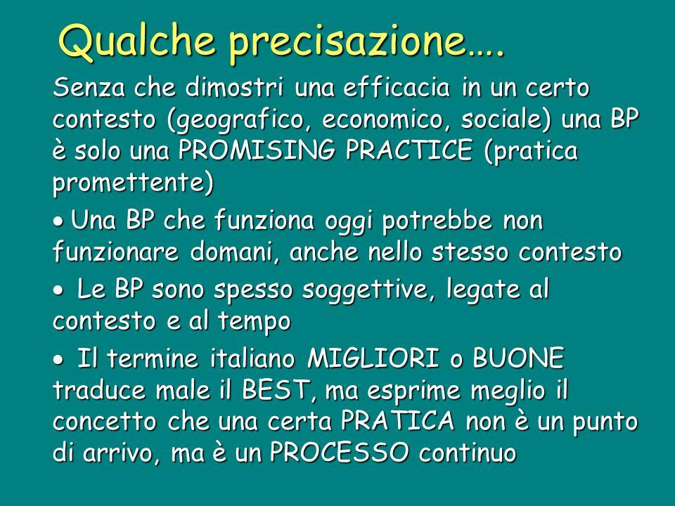 Senza che dimostri una efficacia in un certo contesto (geografico, economico, sociale) una BP è solo una PROMISING PRACTICE (pratica promettente) Una BP che funziona oggi potrebbe non funzionare domani, anche nello stesso contesto Una BP che funziona oggi potrebbe non funzionare domani, anche nello stesso contesto Le BP sono spesso soggettive, legate al contesto e al tempo Le BP sono spesso soggettive, legate al contesto e al tempo Il termine italiano MIGLIORI o BUONE traduce male il BEST, ma esprime meglio il concetto che una certa PRATICA non è un punto di arrivo, ma è un PROCESSO continuo Il termine italiano MIGLIORI o BUONE traduce male il BEST, ma esprime meglio il concetto che una certa PRATICA non è un punto di arrivo, ma è un PROCESSO continuo Qualche precisazione….