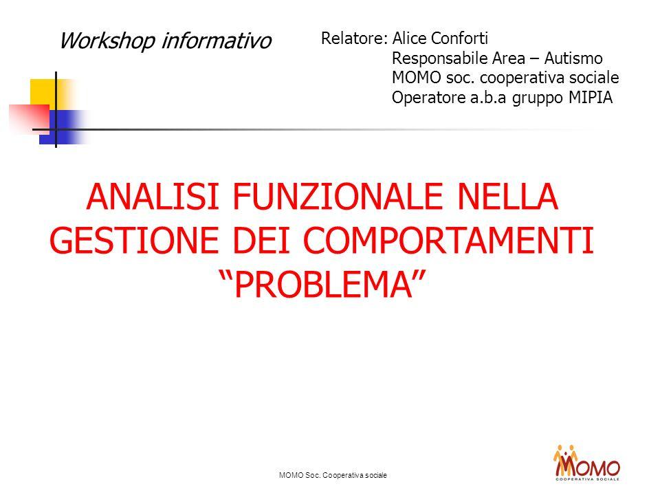 MOMO Soc. Cooperativa sociale Workshop informativo ANALISI FUNZIONALE NELLA GESTIONE DEI COMPORTAMENTI PROBLEMA Relatore: Alice Conforti Responsabile