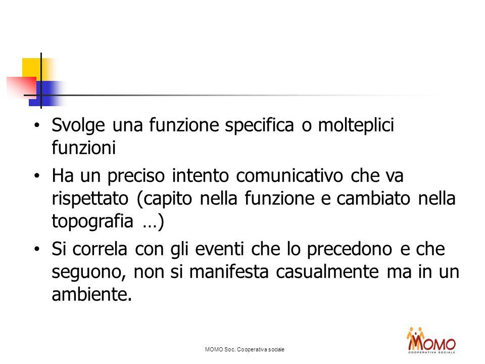 MOMO Soc. Cooperativa sociale Svolge una funzione specifica o molteplici funzioni Ha un preciso intento comunicativo che va rispettato (capito nella f