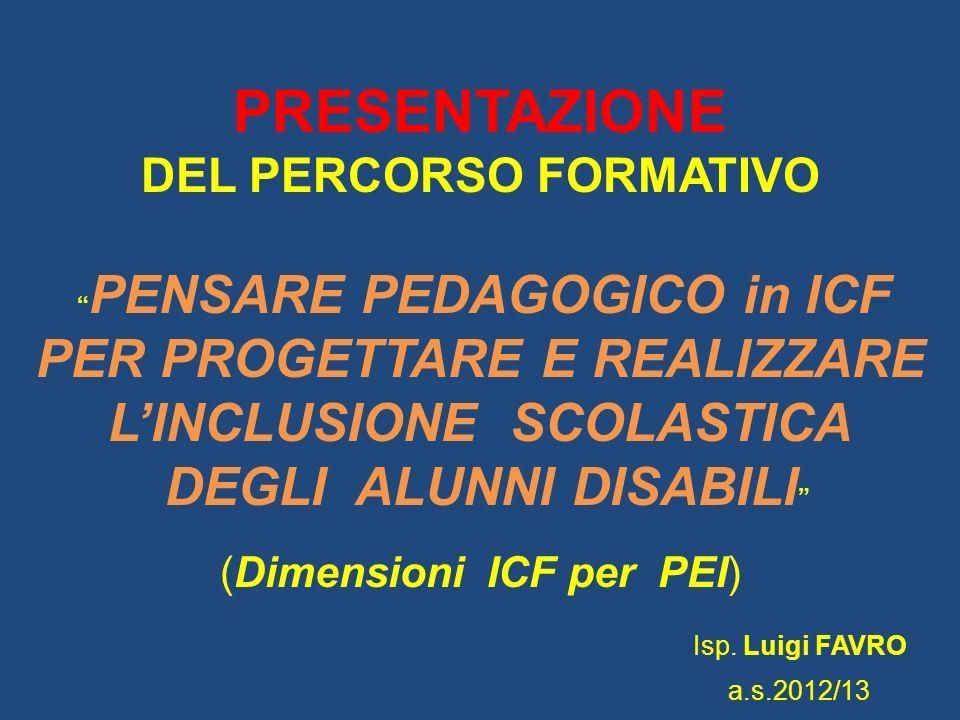 PRESENTAZIONE DEL PERCORSO FORMATIVO PENSARE PEDAGOGICO in ICF PER PROGETTARE E REALIZZARE LINCLUSIONE SCOLASTICA DEGLI ALUNNI DISABILI (Dimensioni IC