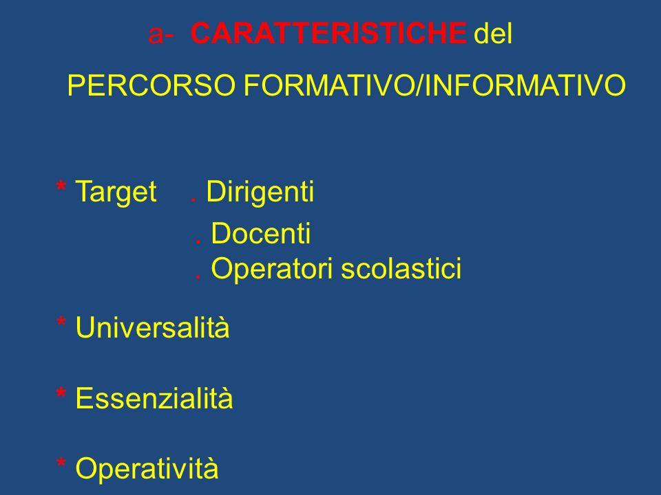 a- CARATTERISTICHE del PERCORSO FORMATIVO/INFORMATIVO * Target. Dirigenti. Docenti. Operatori scolastici * Universalità * Essenzialità * Operatività