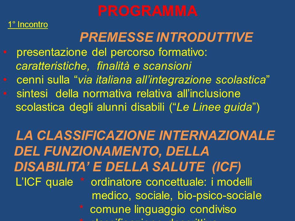 PROGRAMMA 1° Incontro PREMESSE INTRODUTTIVE presentazione del percorso formativo: caratteristiche, finalità e scansioni cenni sulla via italiana allin