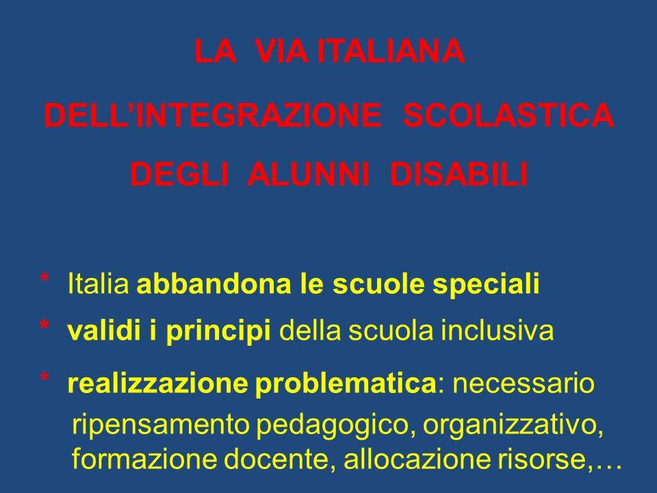 LA VIA ITALIANA DELLINTEGRAZIONE SCOLASTICA DEGLI ALUNNI DISABILI * Italia abbandona le scuole speciali * validi i principi della scuola inclusiva * r