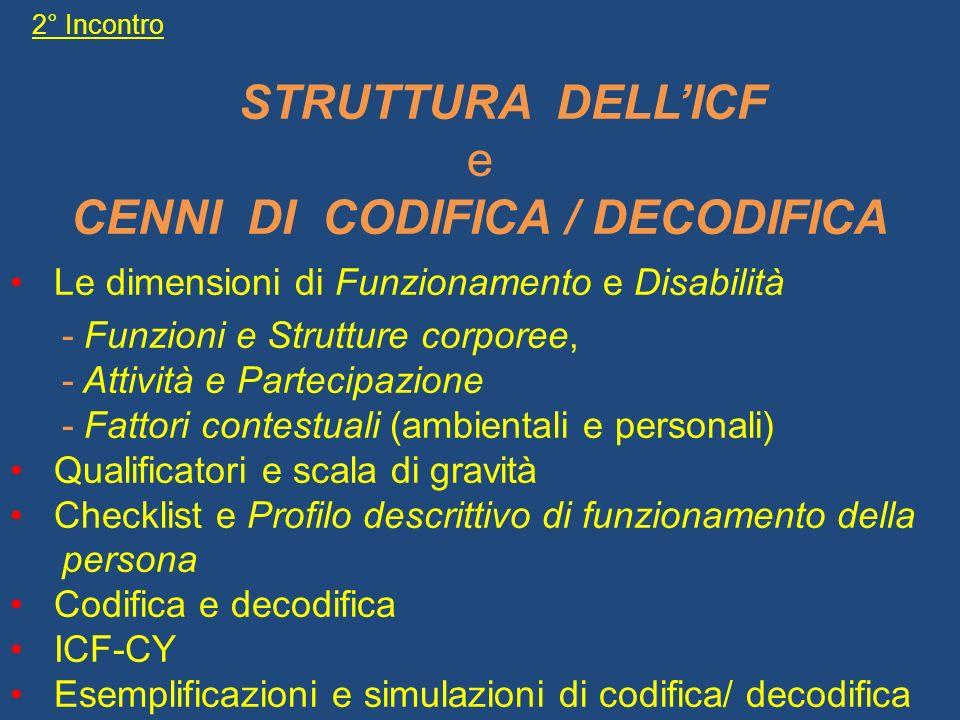 2° Incontro STRUTTURA DELLICF e CENNI DI CODIFICA / DECODIFICA Le dimensioni di Funzionamento e Disabilità - Funzioni e Strutture corporee, - Attività