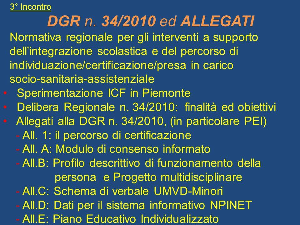 3° Incontro DGR n. 34/2010 ed ALLEGATI Normativa regionale per gli interventi a supporto dellintegrazione scolastica e del percorso di individuazione/