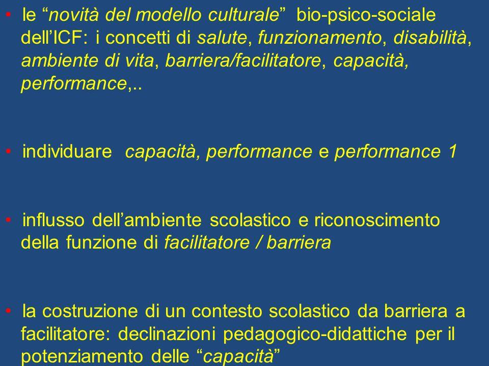 le novità del modello culturale bio-psico-sociale dellICF: i concetti di salute, funzionamento, disabilità, ambiente di vita, barriera/facilitatore, c