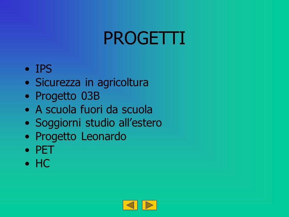 PROGETTI IPS Sicurezza in agricoltura Progetto 03B A scuola fuori da scuola Soggiorni studio allestero Progetto Leonardo PET HC