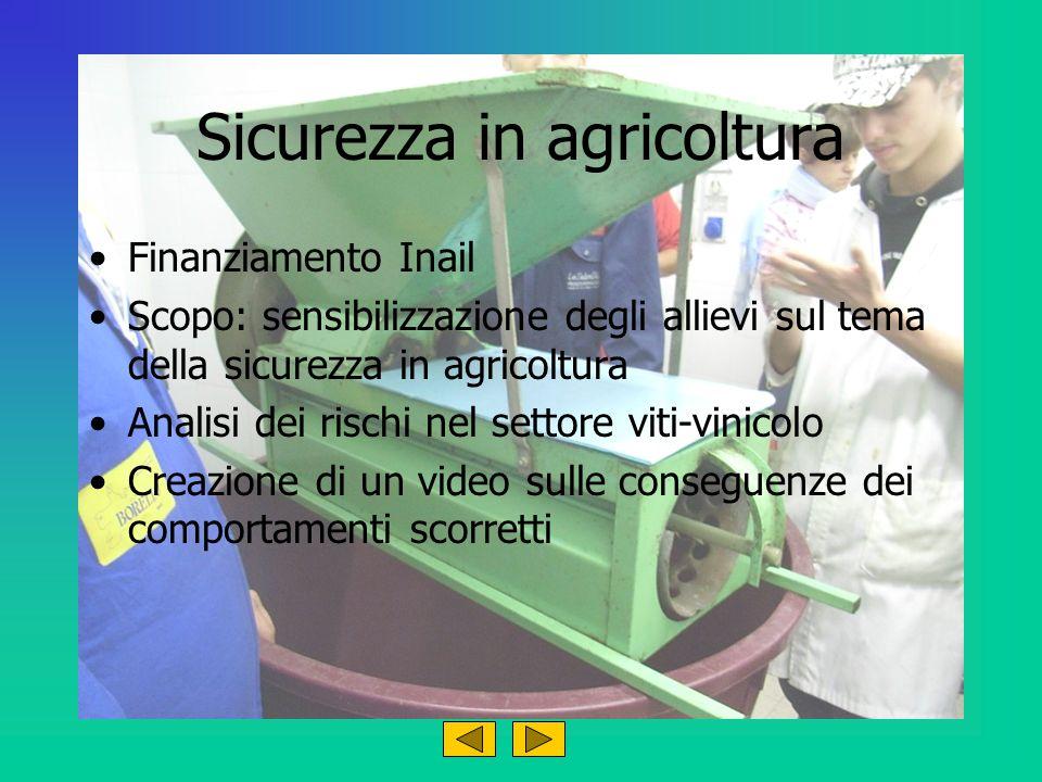 Sicurezza in agricoltura Finanziamento Inail Scopo: sensibilizzazione degli allievi sul tema della sicurezza in agricoltura Analisi dei rischi nel settore viti-vinicolo Creazione di un video sulle conseguenze dei comportamenti scorretti