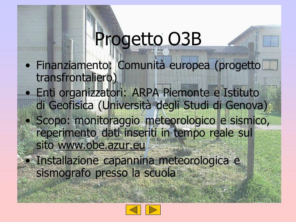 Progetto O3B Finanziamento: Comunità europea (progetto transfrontaliero) Enti organizzatori: ARPA Piemonte e Istituto di Geofisica (Università degli S