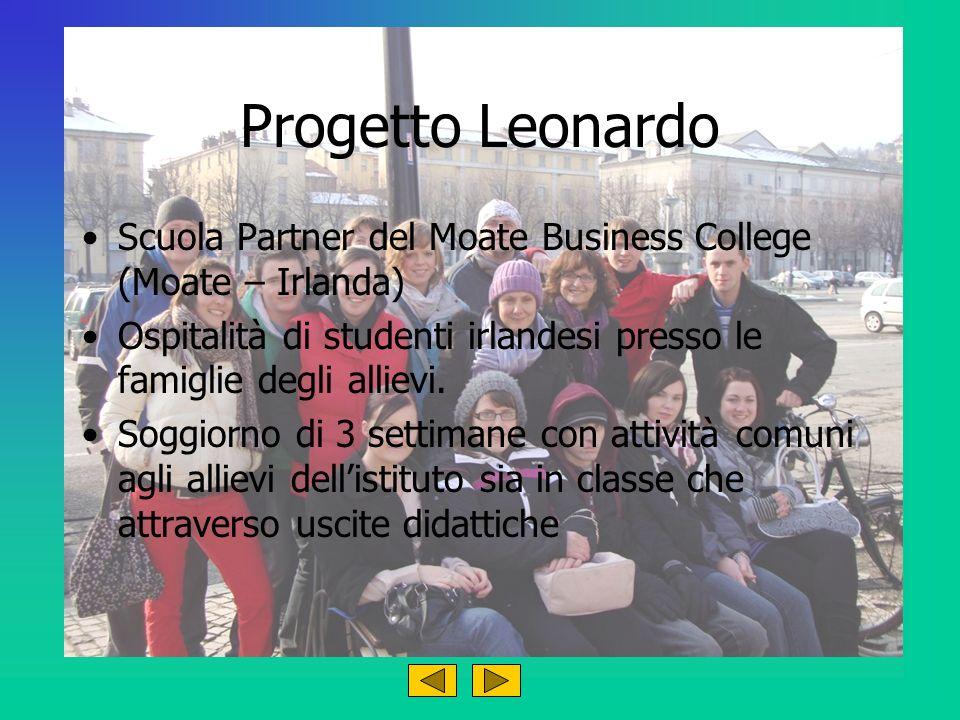 Progetto Leonardo Scuola Partner del Moate Business College (Moate – Irlanda) Ospitalità di studenti irlandesi presso le famiglie degli allievi. Soggi