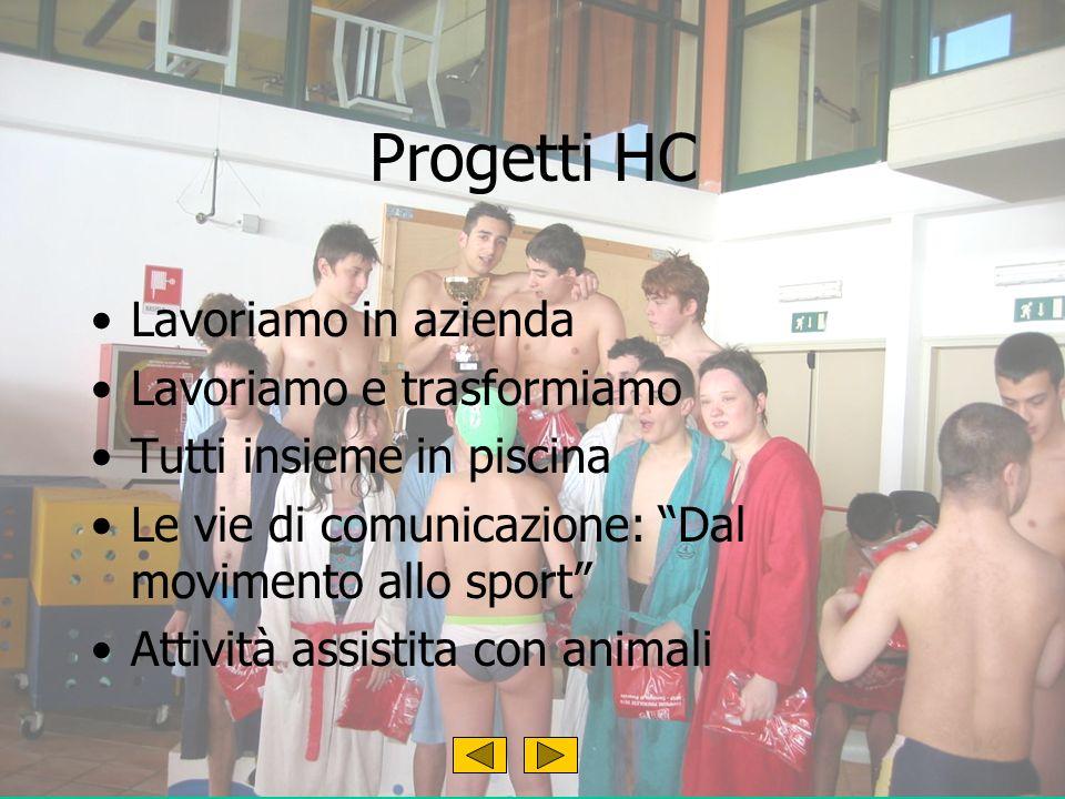 Progetti HC Lavoriamo in azienda Lavoriamo e trasformiamo Tutti insieme in piscina Le vie di comunicazione: Dal movimento allo sport Attività assistita con animali